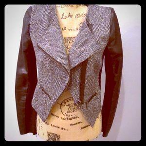 NEW Super Sleek Faux Leather & Tweed Jacket